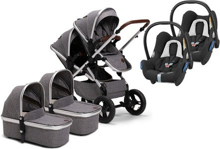 Petite Chérie Excellence 2 Zwillingswagen inkl. Maxi-Cosi CabrioFix, Grey Melange