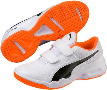 Puma Tenaz V Fußballshuhe JR, White/Orange