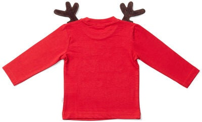 Luca & Lola Baby Langärmliges T-shirt Santa Is Real Deer, Red