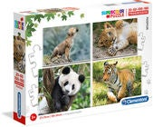 Clementoni Puzzle Wilde Tiere 4-in-1