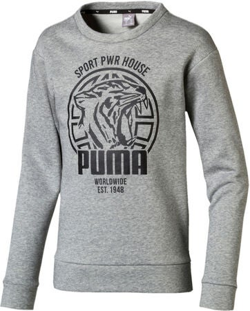 Puma Alpha Graphic Crew Pullover, Medium Grey Hea