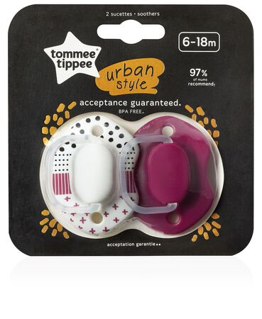 Tommee Tippee Orthodontic Schnuller Urban 6–18m, Rosa