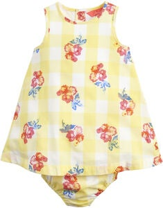 Tom Joule Kleid & Unterhose Set, Yellow Gingham Floral
